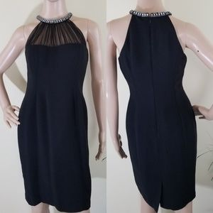 Evan Picone Black Sleeveless Neck Beaded Dress